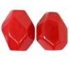 Semi-Precious 15x20mm Facetted Bead Rose Quartz Coated Red